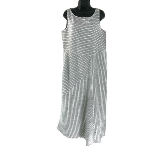 6fb2238be3e J. Jill Dresses   Skirts - J. Jill Love Linen Medium Dress Gray White